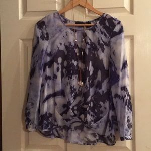 DKNY Jeans sheer high low blouse. Small